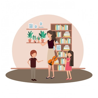 Mujer con hijos y personaje de violín.