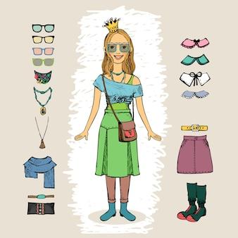 Mujer hipster con corona y gafas conjunto de caracteres