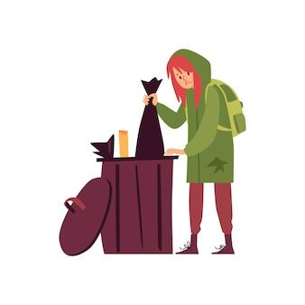 Mujer sin hogar en pie con capucha y hurgando en la basura puede estilo de dibujos animados