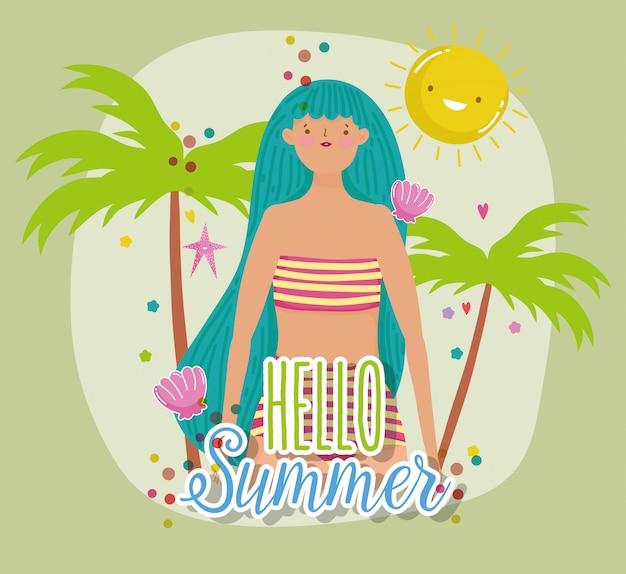 Mujer hola vacaciones de verano