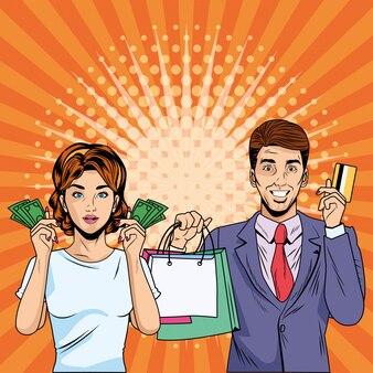 Mujer y hombre con bolsa de compras retro