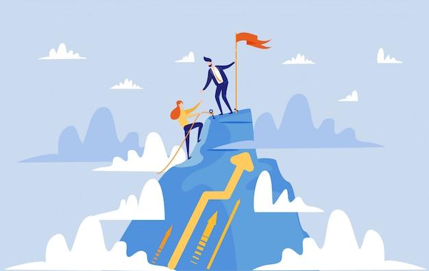 Mujer y hombre en camino hacia el éxito como equipo