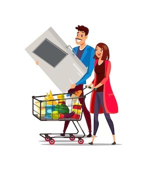 Mujer y hombre con carro en la ilustración de supermercado, carro lleno de comida sana.