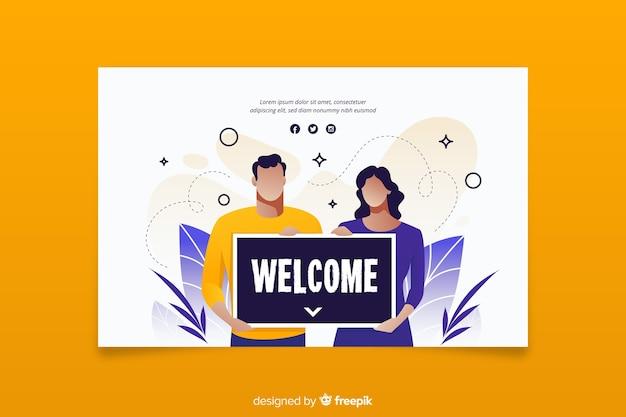 Mujer y hombre con un cartel de bienvenida
