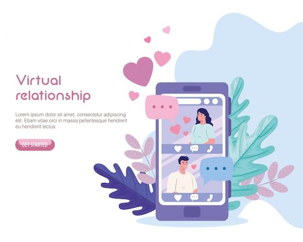 Mujer y hombre chateando en smartphone