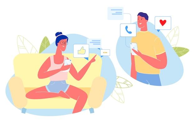 Mujer y hombre citas en línea. pareja chateando.