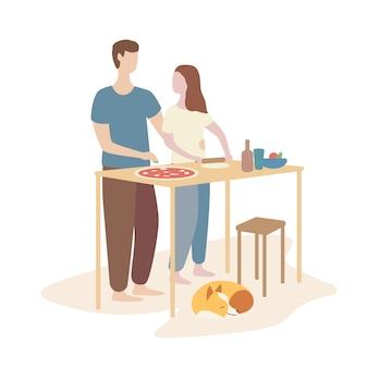 Mujer y hombre cocinando pizza juntos.