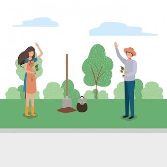 Mujer hombre y concepto de jardinería