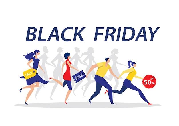 Mujer y hombre corriendo para la venta de descuento el viernes negro sobre fondo blanco.