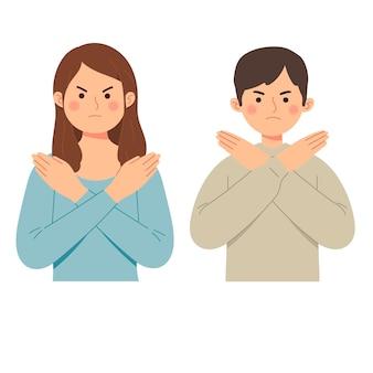 La mujer y el hombre dicen que no con gesto niegan la expresión enojada prohibición gruñona