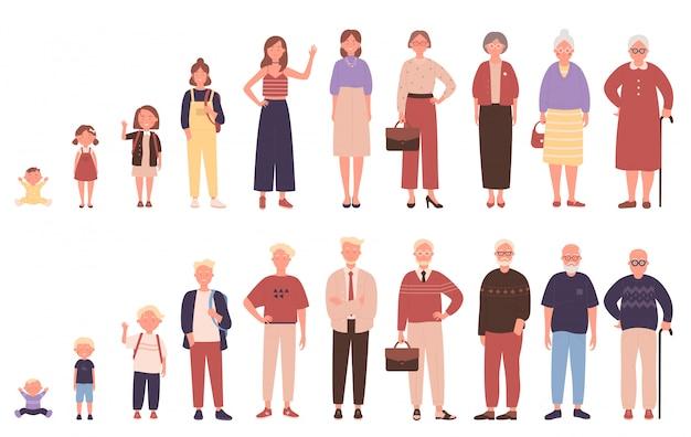 Mujer y hombre en diferentes edades ilustración