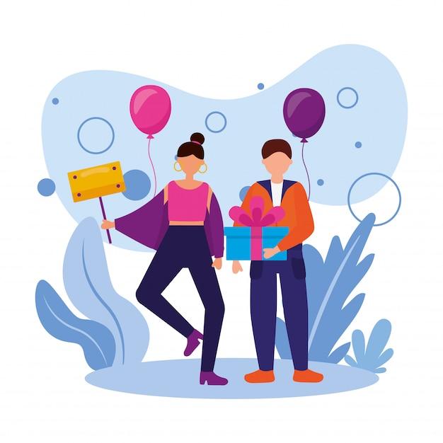 Mujer y hombre con diseño de vector de globos y regalo de feliz cumpleaños