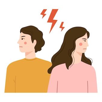 Mujer y hombre enojados, discutiendo. dibujos animados de pelea de pareja
