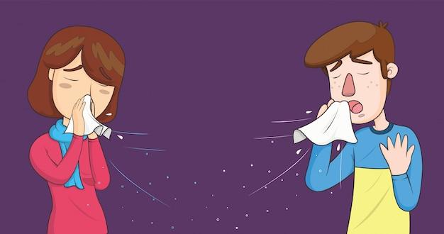 Mujer y hombre estornudando con pequeñas gotas