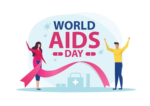 Mujer y hombre ilustración plana del día mundial del sida
