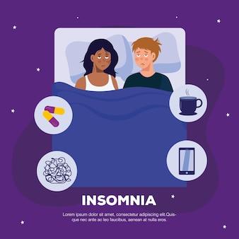 Mujer y hombre con insomnio en el diseño de la cama, el sueño y el tema de la noche.