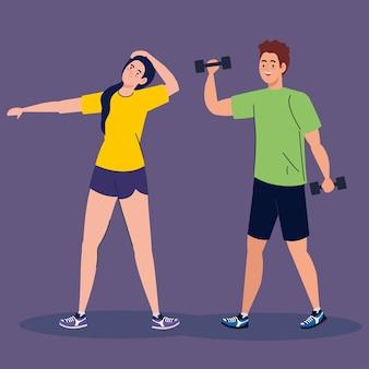Mujer y hombre levantando pesas y diseño de estiramiento, deporte de gimnasio y tema de culturismo.