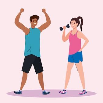 Mujer y hombre levantando pesas y con diseño de manos arriba, deporte de gimnasio y tema de culturismo.