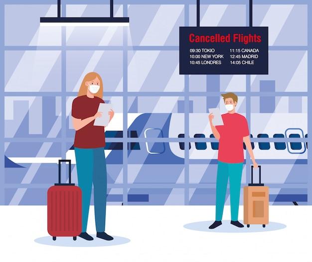 Mujer y hombre con máscaras médicas y bolsas delante del avión
