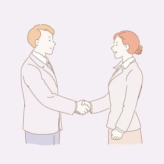 Mujer y hombre de negocios dándose la mano en la ilustración de estilo de línea