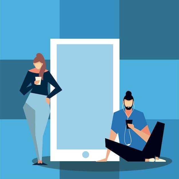 Mujer y hombre de pie cerca de un gran teléfono inteligente y con ilustración móvil