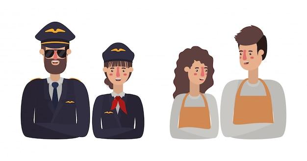 Mujer hombre pilotos y jardineros