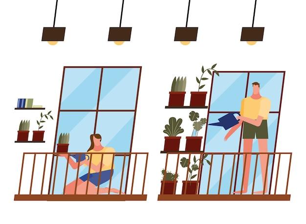 Mujer y hombre con plantas y regadera en casa diseño de ventana de tema de actividad y ocio.