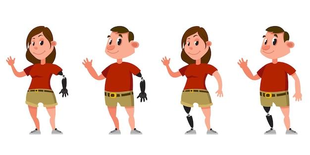 Mujer y hombre con prótesis de brazos y piernas. personajes femeninos y masculinos en estilo de dibujos animados.