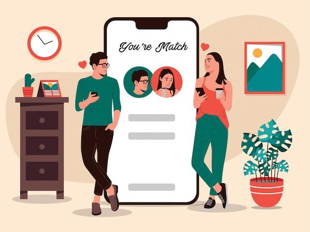 Mujer y hombre usando la ilustración de aplicaciones de citas