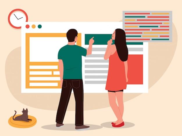 Mujer y hombre usando la ilustración de desarrollo web