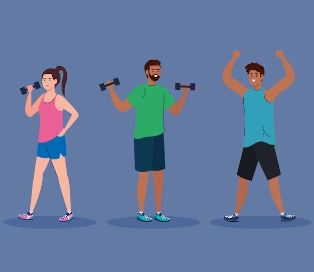 Mujer y hombres negros levantando peso y diseño de estiramiento, deporte de gimnasio y tema de culturismo.