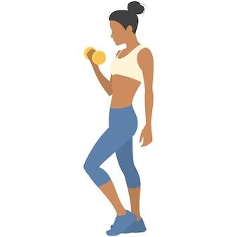 Mujer con icono de vector de entrenamiento de fitness de pesas