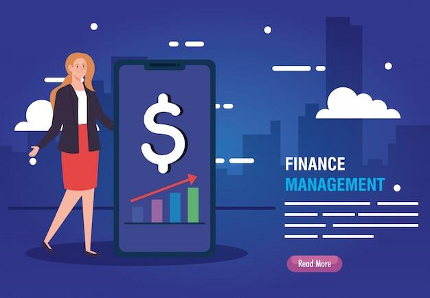 Mujer con iconos de gestión de teléfono inteligente y finanzas