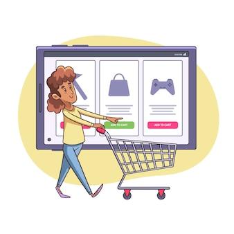 Mujer con ilustración de carrito de compras