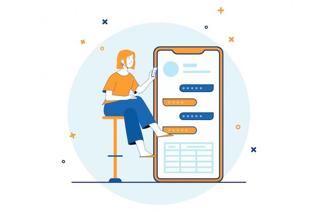 Mujer con ilustración de datos de chat