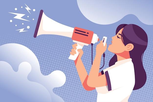Mujer de ilustración con megáfono gritando