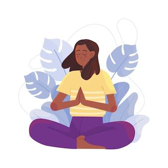 Mujer de ilustración plana meditando