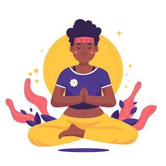 Mujer de ilustración plana orgánica meditando