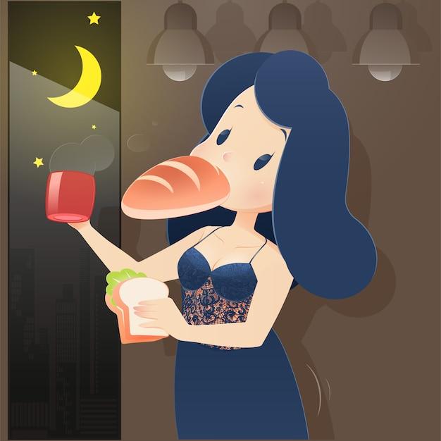 Mujer de la ilustración en ropa de dormir azul que come en la noche. noche de hambre, tomando café, dibujos animados