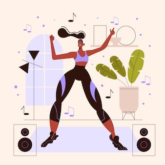Mujer ilustrada practicando baile fitness en casa
