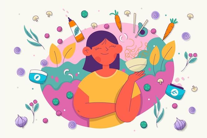 Mujer ilustrada con productos veganos