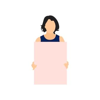 Mujer ilustrada que sostiene el papel en blanco