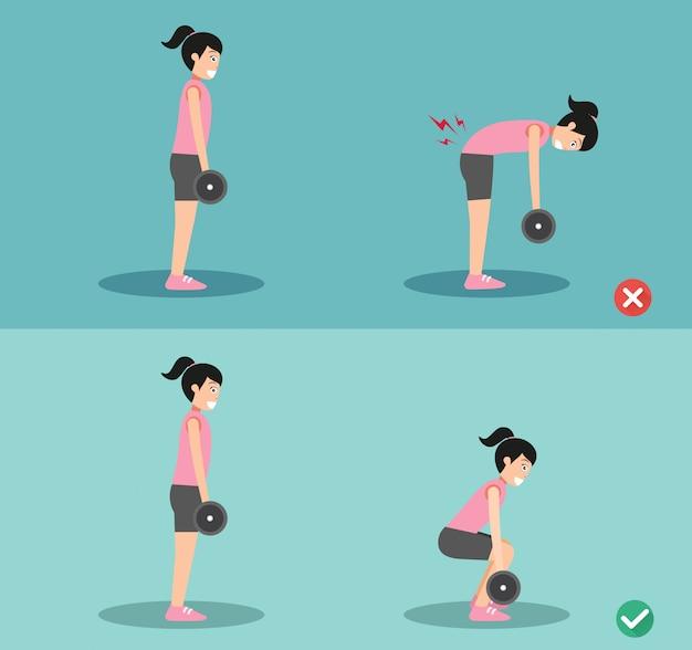 Mujer incorrecta y correcta postura de peso muerto, ilustración