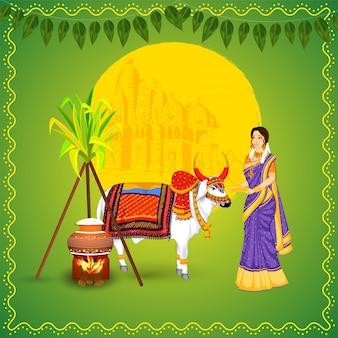 Mujer india con animal ox, caña de azúcar, arroz cocinado en olla de barro y templo en verde para la celebración feliz pongal.