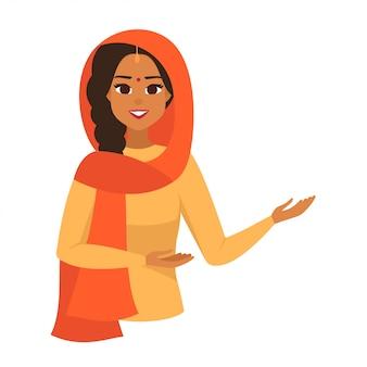 Mujer india presentando algo con dos manos.