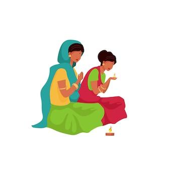 Mujer india rezando personaje sin rostro de color plano