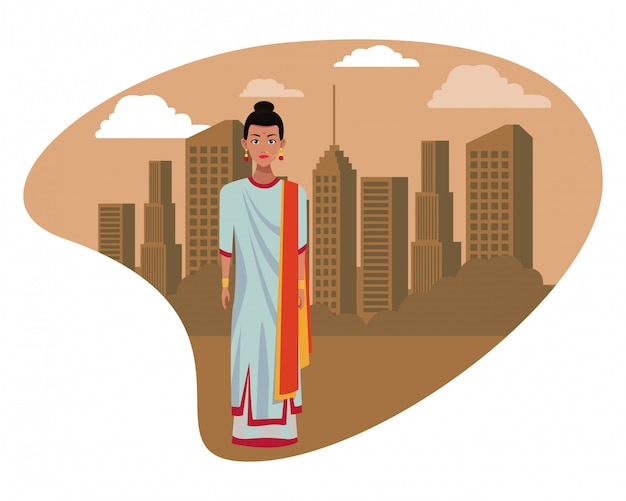 Mujer india vistiendo ropa tradicional hindú