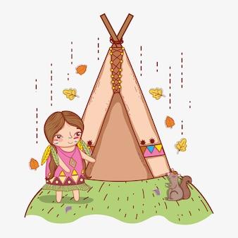Mujer indígena con ardilla y tienda de campaña.