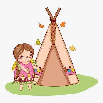 Mujer indígena con tienda de campaña y hojas.