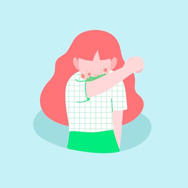 Mujer infectada estornudando en el codo vector de conciencia de covid-19